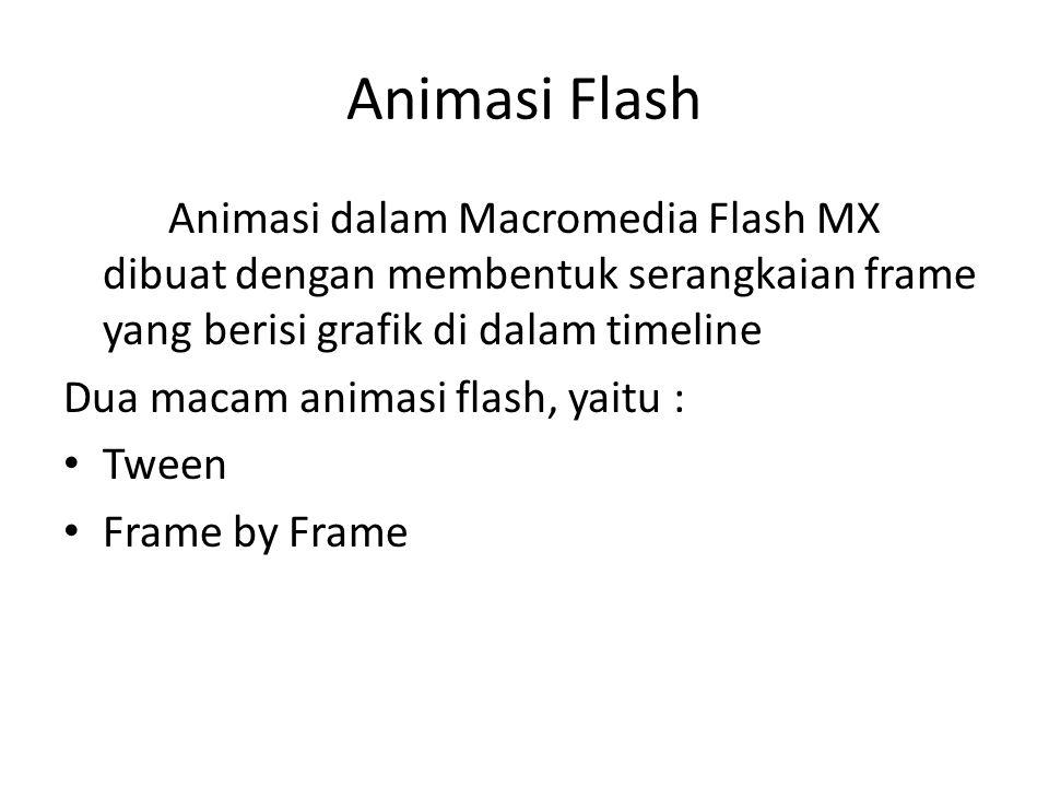 Animasi Flash Animasi dalam Macromedia Flash MX dibuat dengan membentuk serangkaian frame yang berisi grafik di dalam timeline Dua macam animasi flash