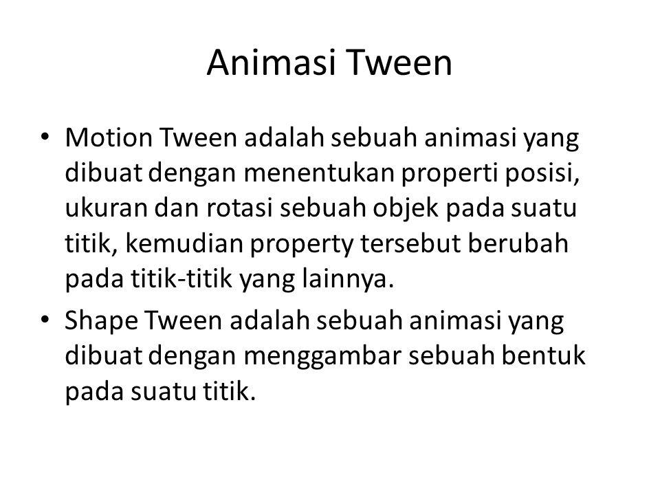 Animasi Tween Motion Tween adalah sebuah animasi yang dibuat dengan menentukan properti posisi, ukuran dan rotasi sebuah objek pada suatu titik, kemudian property tersebut berubah pada titik-titik yang lainnya.