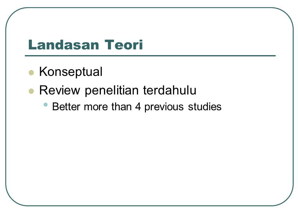 Landasan Teori Konseptual Review penelitian terdahulu Better more than 4 previous studies