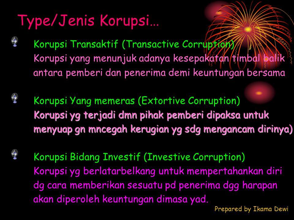 Type/Jenis Korupsi… Prepared by Ikama Dewi Korupsi Transaktif (Transactive Corruption) Korupsi yang menunjuk adanya kesepakatan timbal balik antara pe