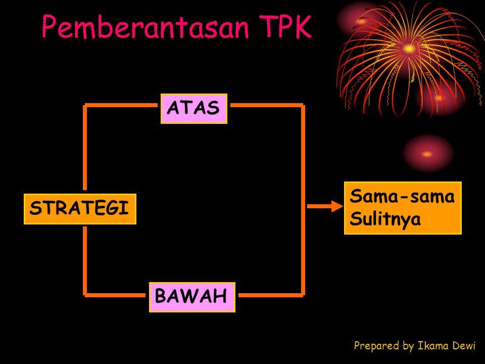Pemberantasan TPK STRATEGI ATAS BAWAH Sama-sama Sulitnya Prepared by Ikama Dewi
