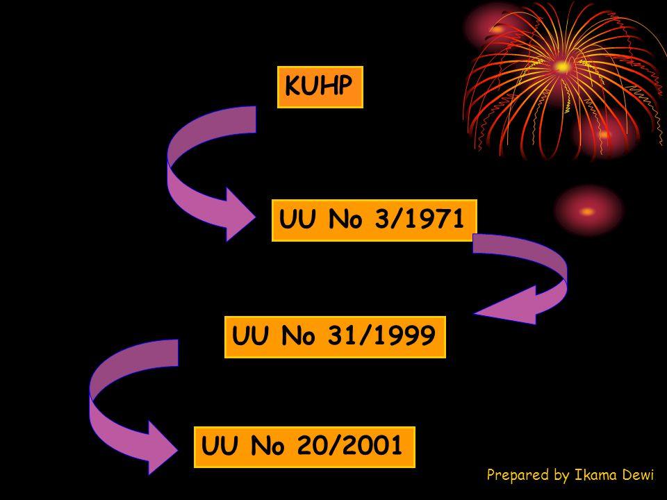 UU No 3/1971 KUHP UU No 31/1999 UU No 20/2001 Prepared by Ikama Dewi