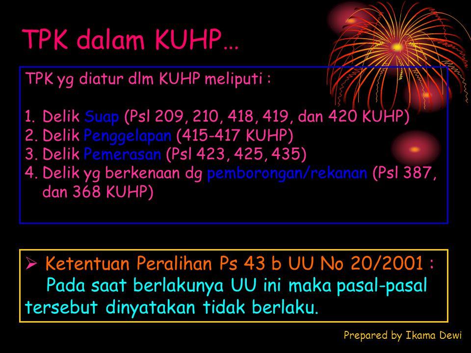 TPK dalam KUHP… TPK yg diatur dlm KUHP meliputi : 1.Delik Suap (Psl 209, 210, 418, 419, dan 420 KUHP) 2.Delik Penggelapan (415-417 KUHP) 3.Delik Pemer