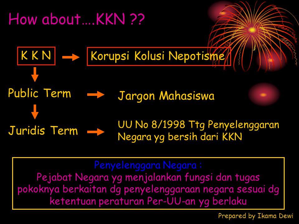 How about….KKN ?? K K N Korupsi Kolusi Nepotisme Public Term Juridis Term UU No 8/1998 Ttg Penyelenggaran Negara yg bersih dari KKN Jargon Mahasiswa P