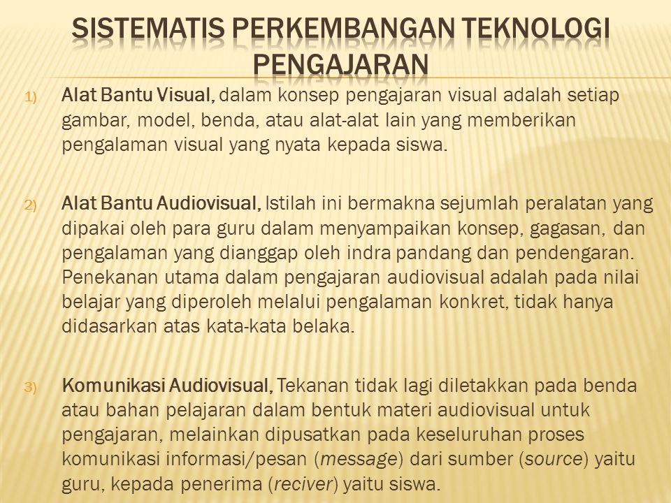 1) Alat Bantu Visual, dalam konsep pengajaran visual adalah setiap gambar, model, benda, atau alat-alat lain yang memberikan pengalaman visual yang ny