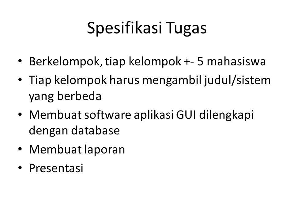 Spesifikasi Tugas Berkelompok, tiap kelompok +- 5 mahasiswa Tiap kelompok harus mengambil judul/sistem yang berbeda Membuat software aplikasi GUI dile