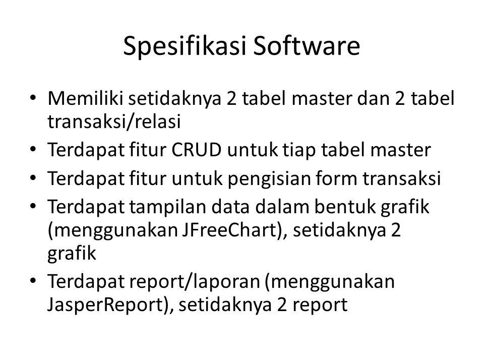 Spesifikasi Software Memiliki setidaknya 2 tabel master dan 2 tabel transaksi/relasi Terdapat fitur CRUD untuk tiap tabel master Terdapat fitur untuk