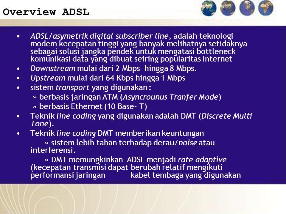 Overview ADSL ADSL/asymetrik digital subscriber line, adalah teknologi modem kecepatan tinggi yang banyak melihatnya setidaknya sebagai solusi jangka
