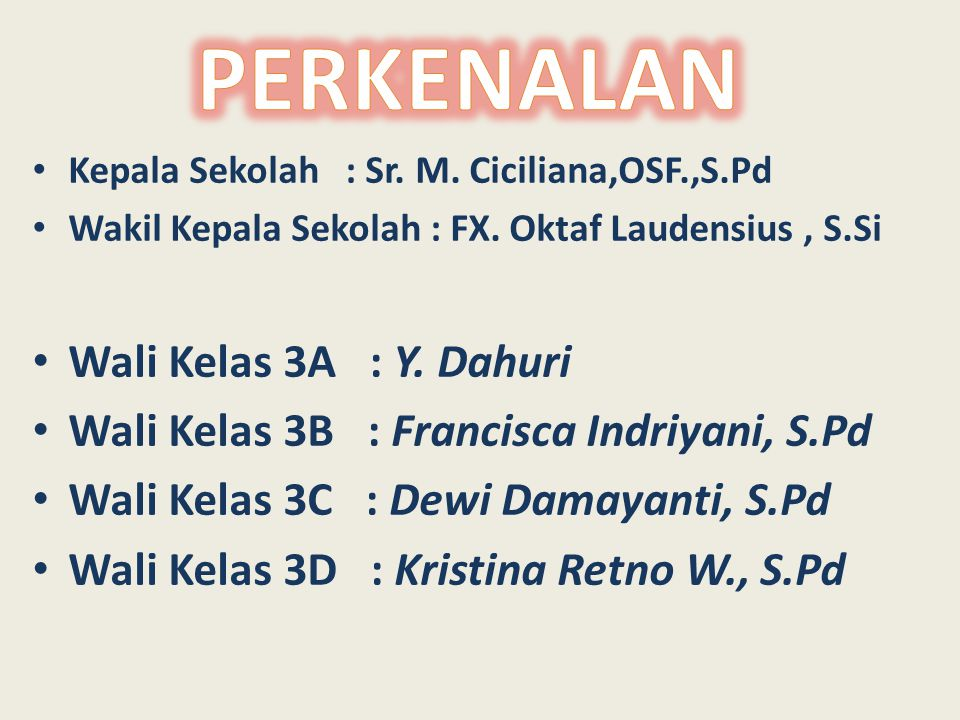 Kepala Sekolah : Sr. M. Ciciliana,OSF.,S.Pd Wakil Kepala Sekolah : FX. Oktaf Laudensius, S.Si Wali Kelas 3A : Y. Dahuri Wali Kelas 3B : Francisca Indr