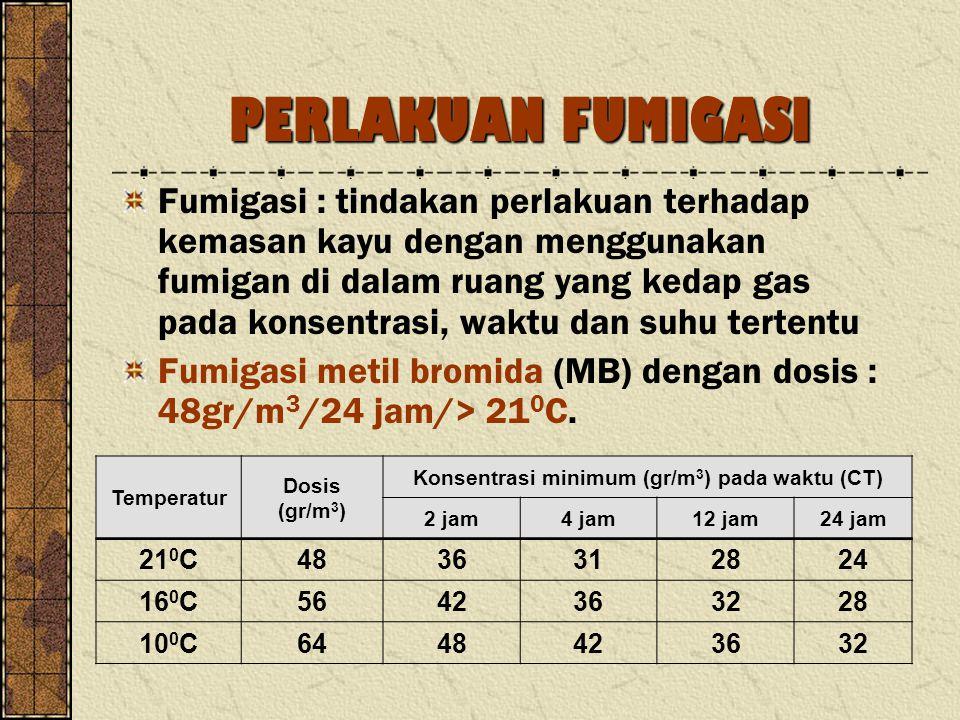 PERLAKUAN FUMIGASI Fumigasi : tindakan perlakuan terhadap kemasan kayu dengan menggunakan fumigan di dalam ruang yang kedap gas pada konsentrasi, wakt