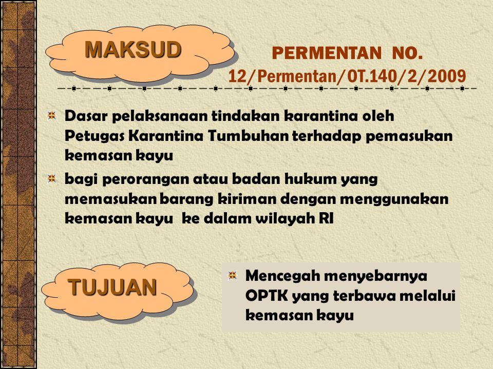 Dasar pelaksanaan tindakan karantina oleh Petugas Karantina Tumbuhan terhadap pemasukan kemasan kayu bagi perorangan atau badan hukum yang memasukan b