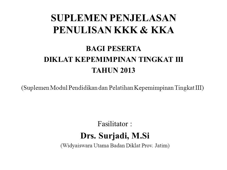 SUPLEMEN PENJELASAN PENULISAN KKK & KKA BAGI PESERTA DIKLAT KEPEMIMPINAN TINGKAT III TAHUN 2013 Fasilitator : Drs. Surjadi, M.Si (Widyaiswara Utama Ba