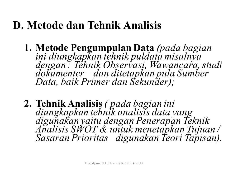 D. Metode dan Tehnik Analisis 1.Metode Pengumpulan Data (pada bagian ini diungkapkan tehnik puldata misalnya dengan : Tehnik Observasi, Wawancara, stu
