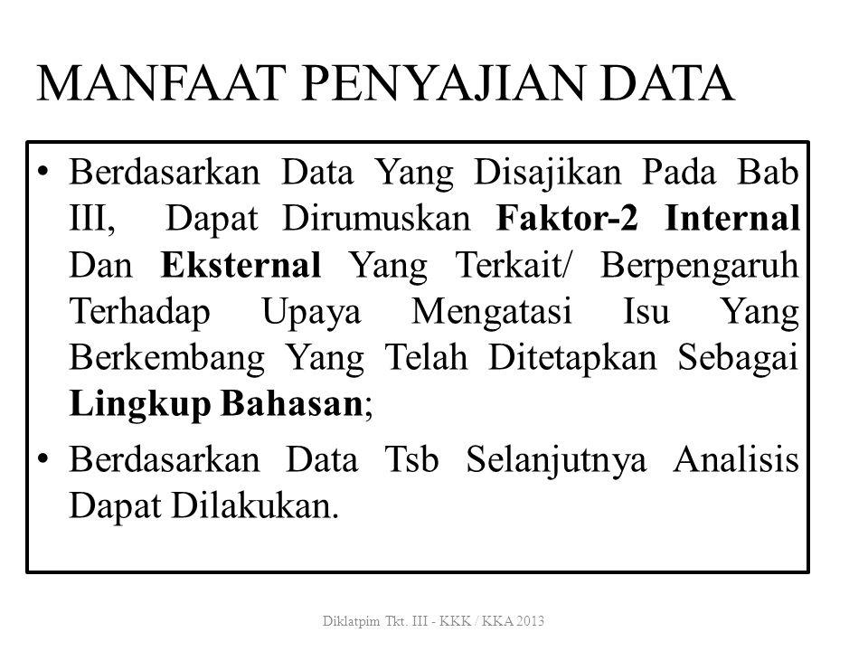 MANFAAT PENYAJIAN DATA Berdasarkan Data Yang Disajikan Pada Bab III, Dapat Dirumuskan Faktor-2 Internal Dan Eksternal Yang Terkait/ Berpengaruh Terhad