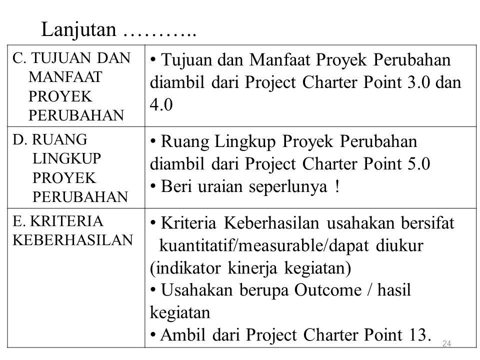 Lanjutan ……….. 24 C. TUJUAN DAN MANFAAT PROYEK PERUBAHAN Tujuan dan Manfaat Proyek Perubahan diambil dari Project Charter Point 3.0 dan 4.0 D. RUANG L