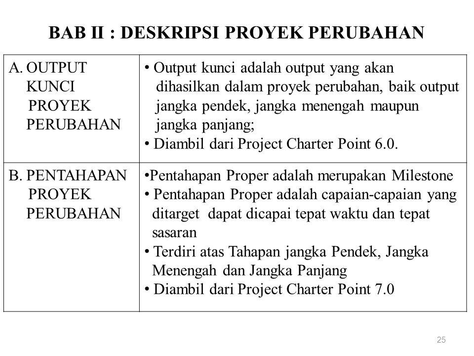 BAB II : DESKRIPSI PROYEK PERUBAHAN 25 A.OUTPUT KUNCI PROYEK PERUBAHAN Output kunci adalah output yang akan dihasilkan dalam proyek perubahan, baik output jangka pendek, jangka menengah maupun jangka panjang; Diambil dari Project Charter Point 6.0.