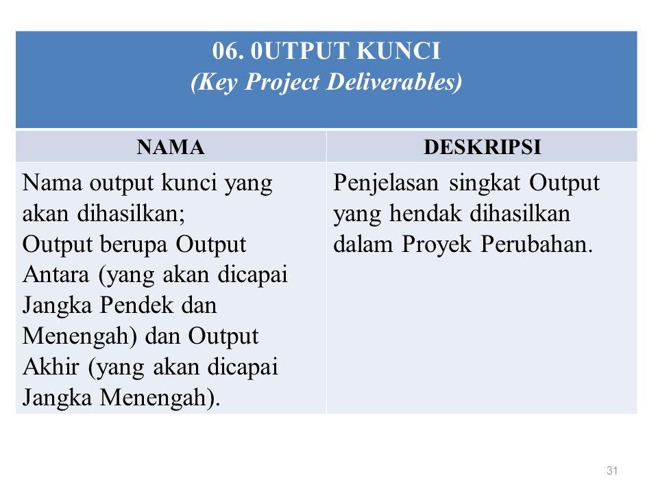 31 06. 0UTPUT KUNCI (Key Project Deliverables) NAMADESKRIPSI Nama output kunci yang akan dihasilkan; Output berupa Output Antara (yang akan dicapai Ja
