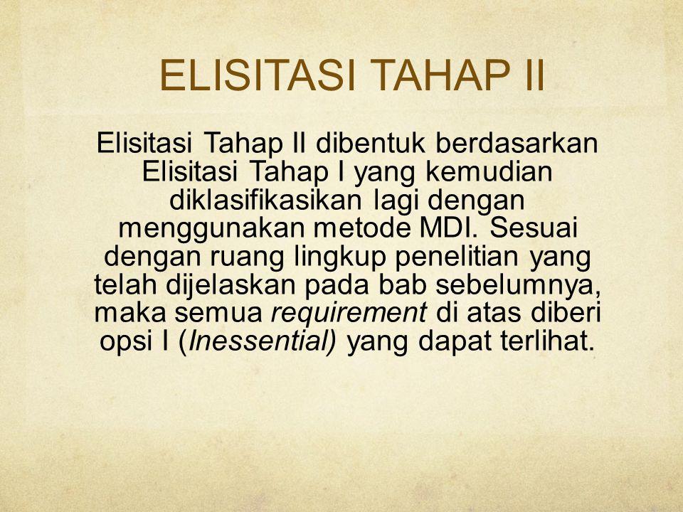 ELISITASI TAHAP II Elisitasi Tahap II dibentuk berdasarkan Elisitasi Tahap I yang kemudian diklasifikasikan lagi dengan menggunakan metode MDI.