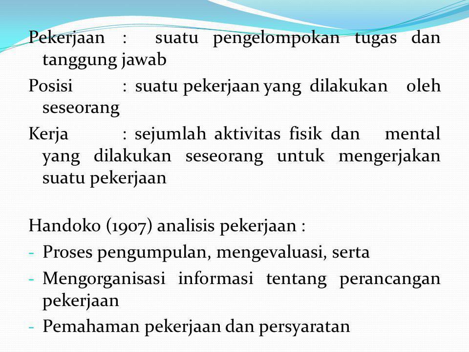 Analisis Pekerjaan : - Suatu cara / usaha yang sistematis - Untuk mengumpulkan, menilai - Dan mengorganisasikan semua jenis pekerjaan ( tugas dan tanggung jawab) - Yang terdapat dalam organisasi Pentingnya Analisis Pekerjaan 1.