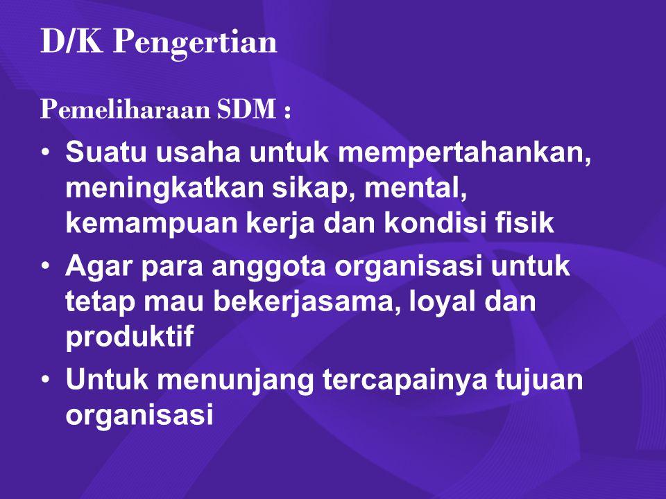 D/K Pengertian Pemeliharaan SDM : Suatu usaha untuk mempertahankan, meningkatkan sikap, mental, kemampuan kerja dan kondisi fisik Agar para anggota or
