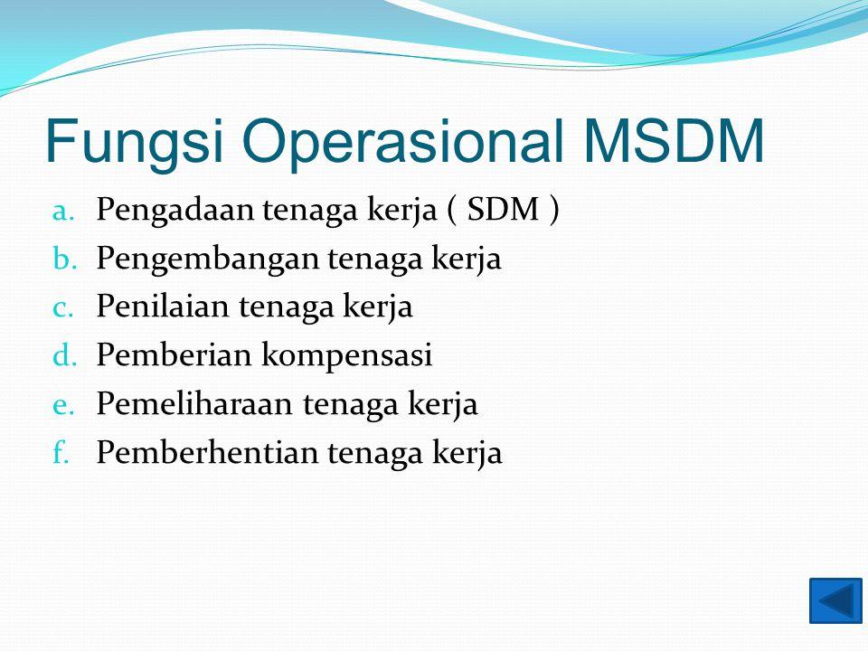 Fungsi Operasional MSDM a. Pengadaan tenaga kerja ( SDM ) b.