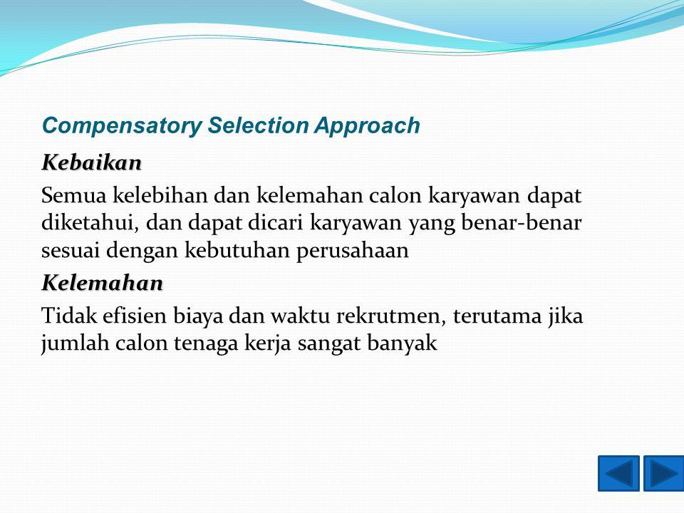 Compensatory Selection Approach Kebaikan Semua kelebihan dan kelemahan calon karyawan dapat diketahui, dan dapat dicari karyawan yang benar-benar sesuai dengan kebutuhan perusahaanKelemahan Tidak efisien biaya dan waktu rekrutmen, terutama jika jumlah calon tenaga kerja sangat banyak