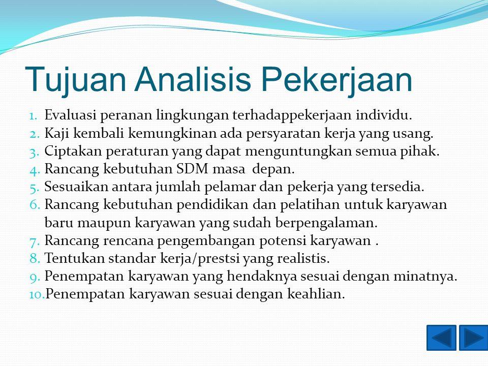 Tujuan Analisis Pekerjaan 1. Evaluasi peranan lingkungan terhadappekerjaan individu.