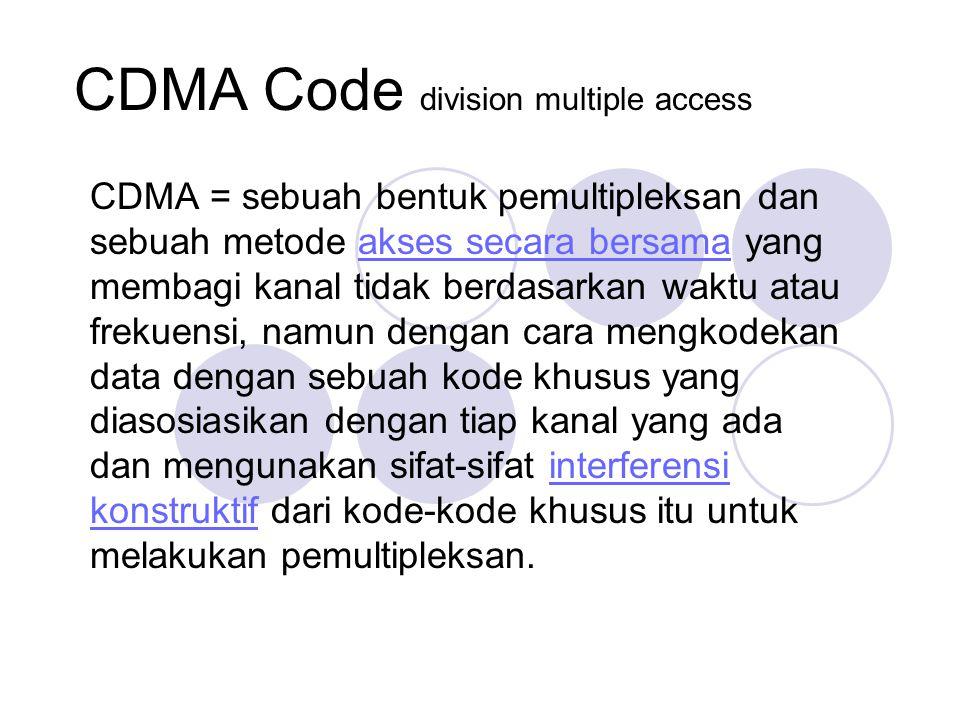 CDMA Code division multiple access CDMA = sebuah bentuk pemultipleksan dan sebuah metode akses secara bersama yang membagi kanal tidak berdasarkan waktu atau frekuensi, namun dengan cara mengkodekan data dengan sebuah kode khusus yang diasosiasikan dengan tiap kanal yang ada dan mengunakan sifat-sifat interferensi konstruktif dari kode-kode khusus itu untuk melakukan pemultipleksan.akses secara bersamainterferensi konstruktif