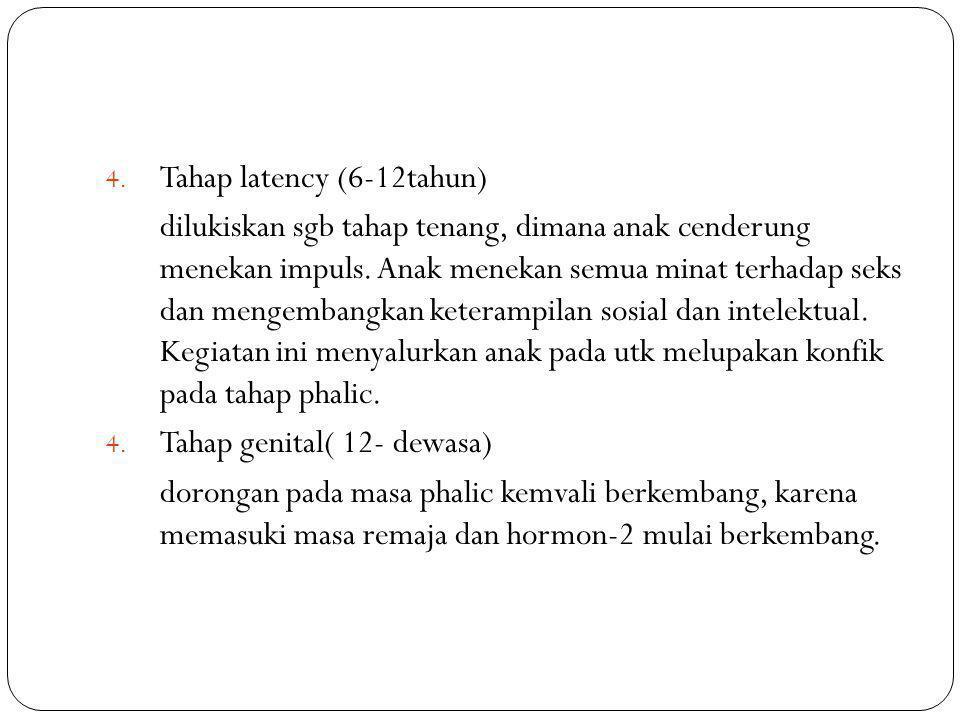 4. Tahap latency (6-12tahun) dilukiskan sgb tahap tenang, dimana anak cenderung menekan impuls. Anak menekan semua minat terhadap seks dan mengembangk