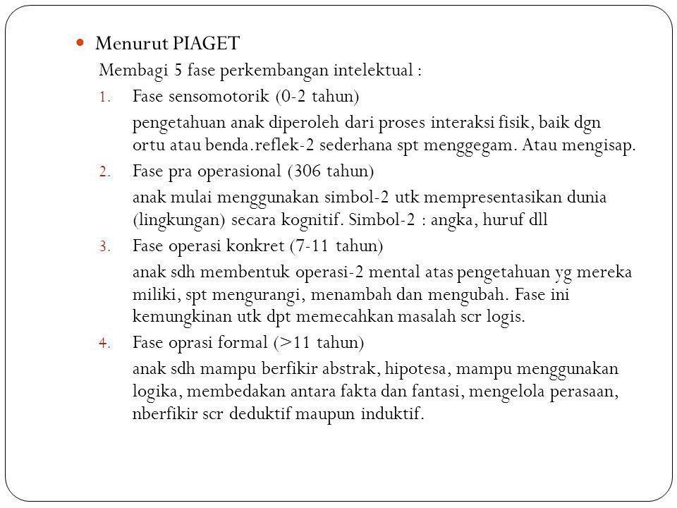 Menurut PIAGET Membagi 5 fase perkembangan intelektual : 1. Fase sensomotorik (0-2 tahun) pengetahuan anak diperoleh dari proses interaksi fisik, baik