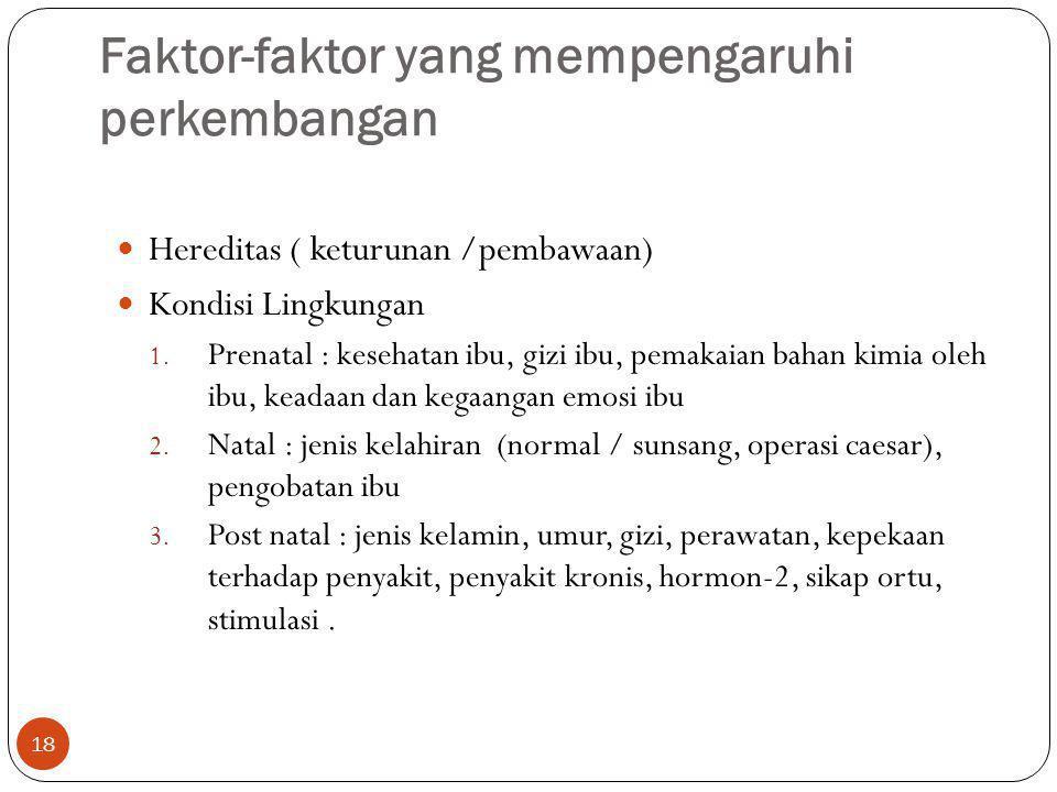 Faktor-faktor yang mempengaruhi perkembangan 18 Hereditas ( keturunan /pembawaan) Kondisi Lingkungan 1. Prenatal : kesehatan ibu, gizi ibu, pemakaian