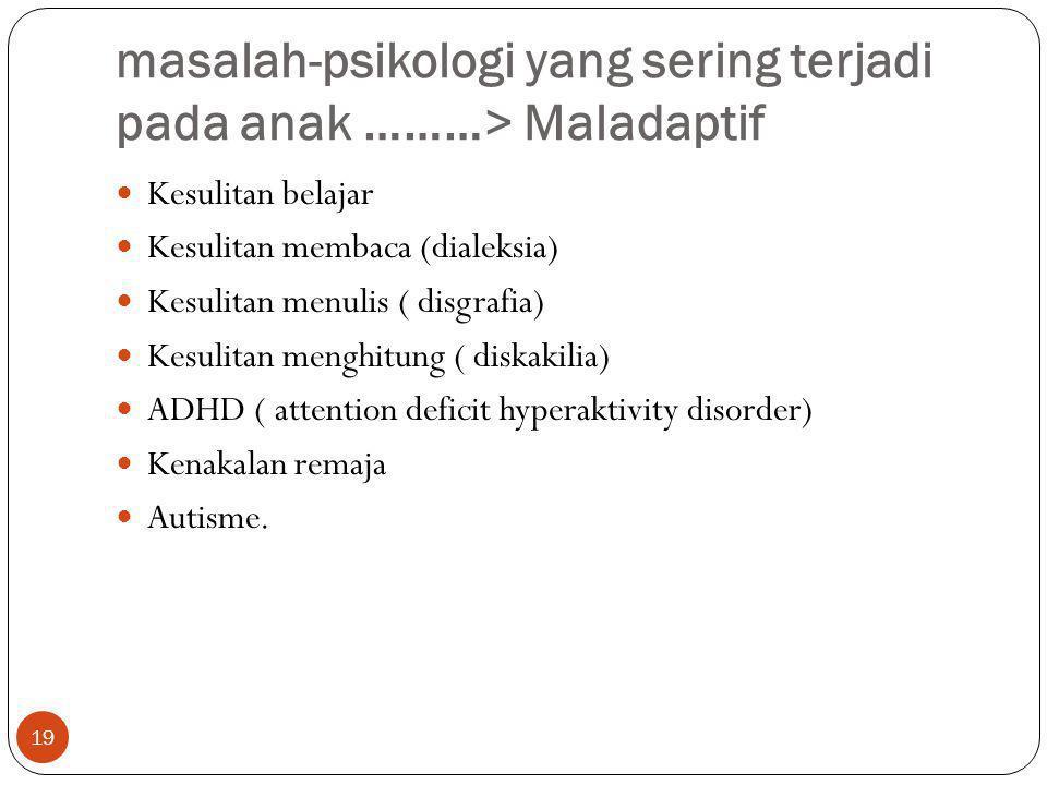 masalah-psikologi yang sering terjadi pada anak ………> Maladaptif 19 Kesulitan belajar Kesulitan membaca (dialeksia) Kesulitan menulis ( disgrafia) Kesu