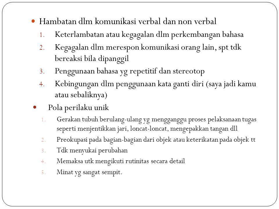 Hambatan dlm komunikasi verbal dan non verbal 1. Keterlambatan atau kegagalan dlm perkembangan bahasa 2. Kegagalan dlm merespon komunikasi orang lain,