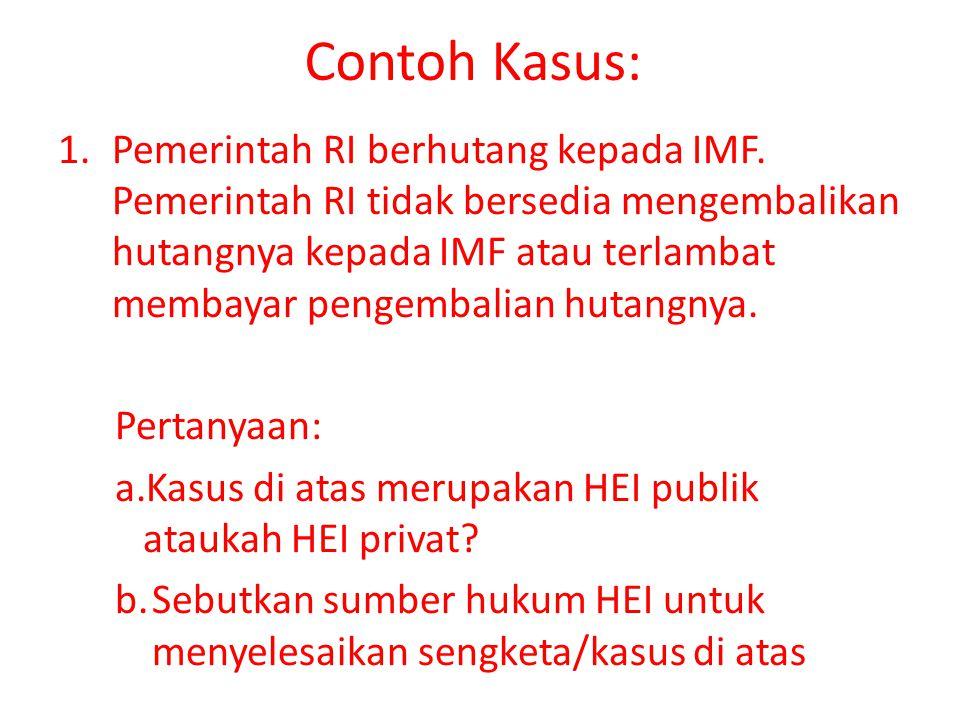 Contoh Kasus: 1.Pemerintah RI berhutang kepada IMF.
