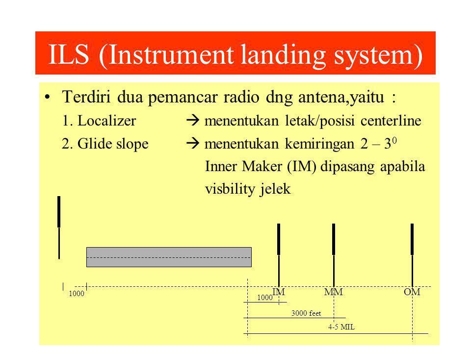 ILS (Instrument landing system) Terdiri dua pemancar radio dng antena,yaitu : 1.