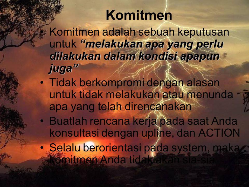 """Komitmen """"melakukan apa yang perlu dilakukan dalam kondisi apapun juga""""Komitmen adalah sebuah keputusan untuk """"melakukan apa yang perlu dilakukan dala"""