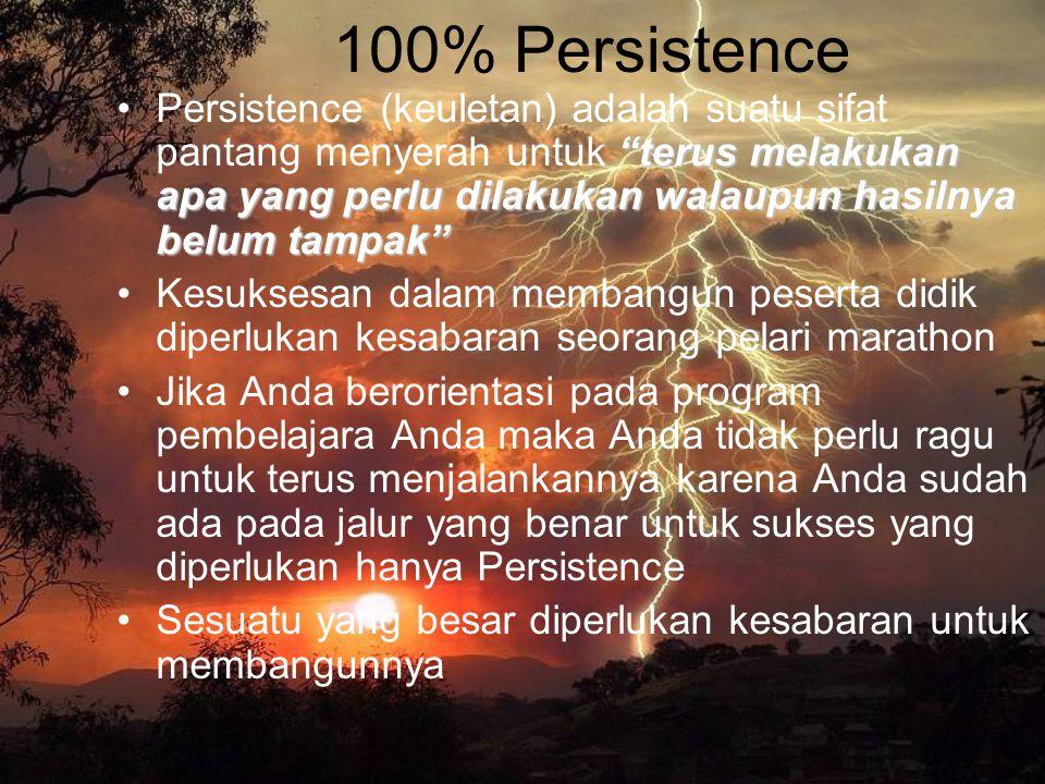 """100% Persistence """"terus melakukan apa yang perlu dilakukan walaupun hasilnya belum tampak""""Persistence (keuletan) adalah suatu sifat pantang menyerah u"""