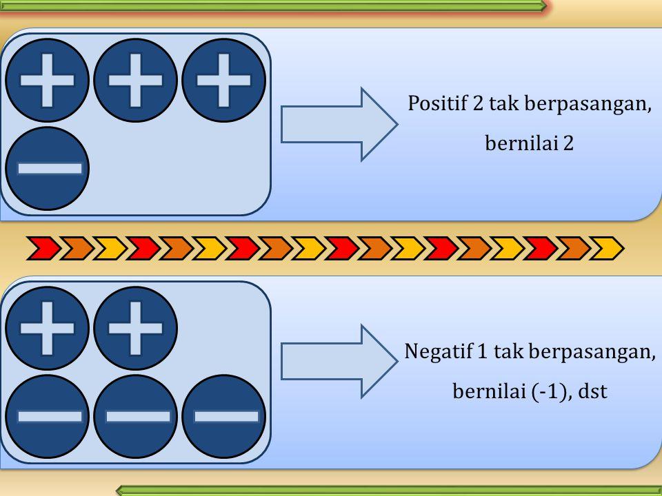 Positif 2 tak berpasangan, bernilai 2 Negatif 1 tak berpasangan, bernilai (-1), dst