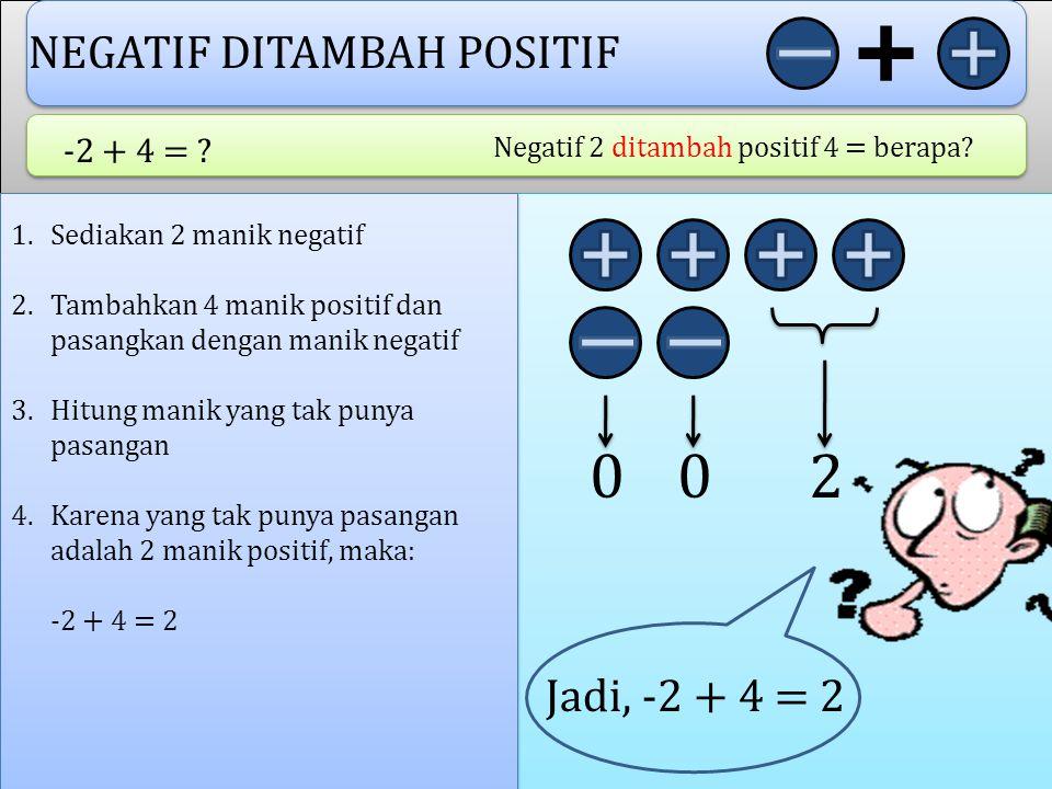 NEGATIF DITAMBAH POSITIF -2 + 4 = .Negatif 2 ditambah positif 4 = berapa.