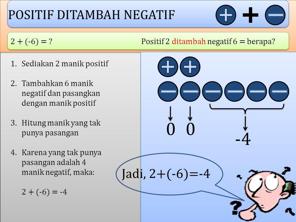 NEGATIF DITAMBAH POSITIF -2 + 4 = ? Negatif 2 ditambah positif 4 = berapa? 1.Sediakan 2 manik negatif 2.Tambahkan 4 manik positif dan pasangkan dengan