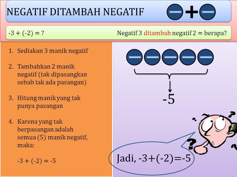 POSITIF DITAMBAH NEGATIF 2 + (-6) = ?Positif 2 ditambah negatif 6 = berapa? 1.Sediakan 2 manik positif 2.Tambahkan 6 manik negatif dan pasangkan denga