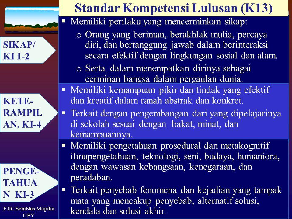 'Principles and Standards for School Mathematics' (NCTM): Standar Matematika Sekolah: Standar isi materi (mathematical content) Standar proses (mathem