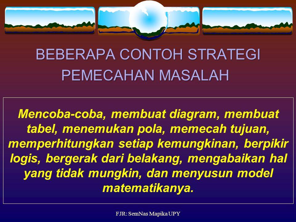 STRATEGI PM Cara yang sering digunakan dan sering berhasil pada proses pemecahan masalah. Strategi PM dapat ditransfer ke dalam kehidupan sehari-hari.