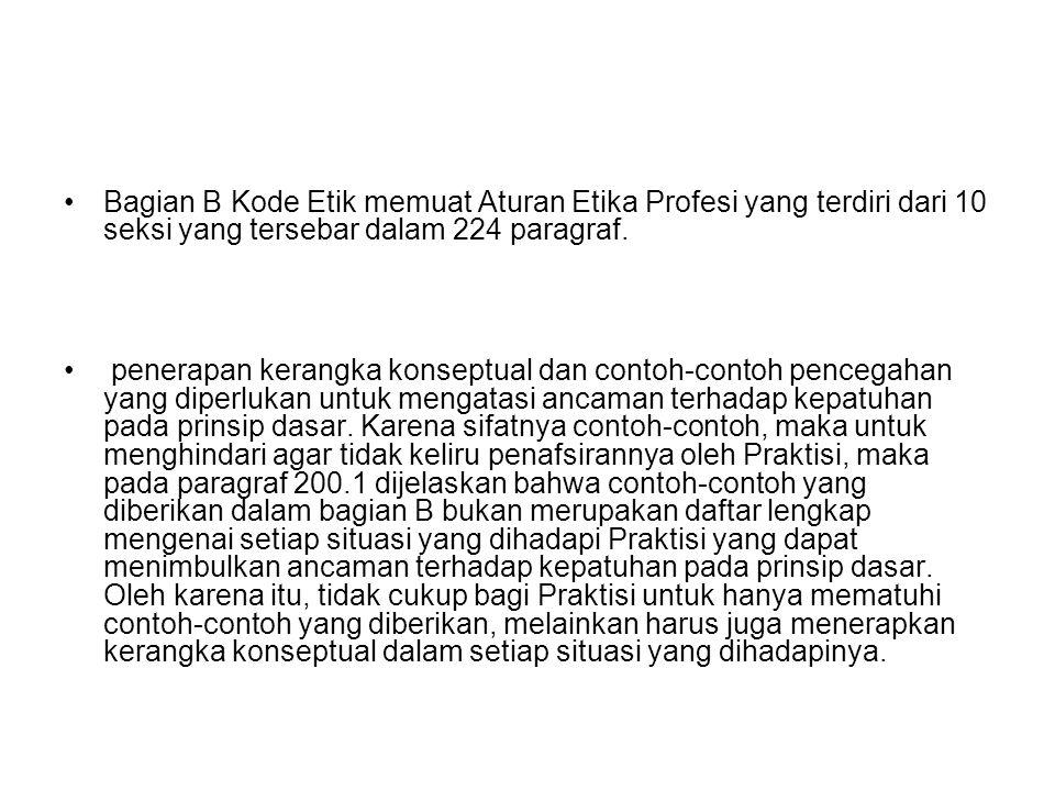 Bagian B Kode Etik memuat Aturan Etika Profesi yang terdiri dari 10 seksi yang tersebar dalam 224 paragraf.