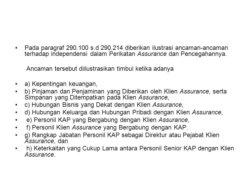 Pada paragraf 290.100 s.d 290.214 diberikan ilustrasi ancaman-ancaman terhadap independensi dalam Perikatan Assurance dan Pencegahannya.