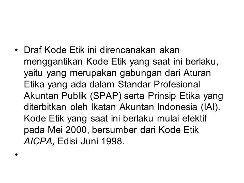 Draf Kode Etik ini direncanakan akan menggantikan Kode Etik yang saat ini berlaku, yaitu yang merupakan gabungan dari Aturan Etika yang ada dalam Standar Profesional Akuntan Publik (SPAP) serta Prinsip Etika yang diterbitkan oleh Ikatan Akuntan Indonesia (IAI).