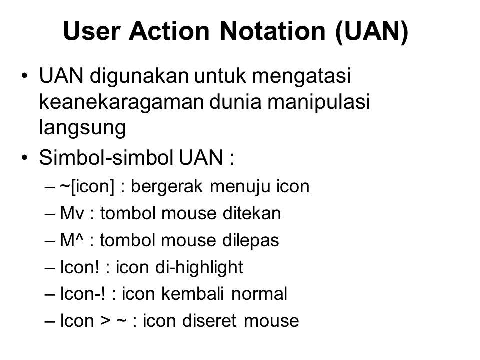 User Action Notation (UAN) UAN digunakan untuk mengatasi keanekaragaman dunia manipulasi langsung Simbol-simbol UAN : –~[icon] : bergerak menuju icon –Mv : tombol mouse ditekan –M^ : tombol mouse dilepas –Icon.