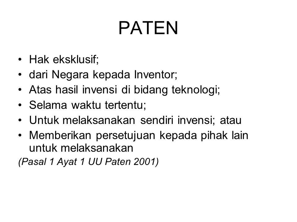 PATEN Hak eksklusif; dari Negara kepada Inventor; Atas hasil invensi di bidang teknologi; Selama waktu tertentu; Untuk melaksanakan sendiri invensi; a