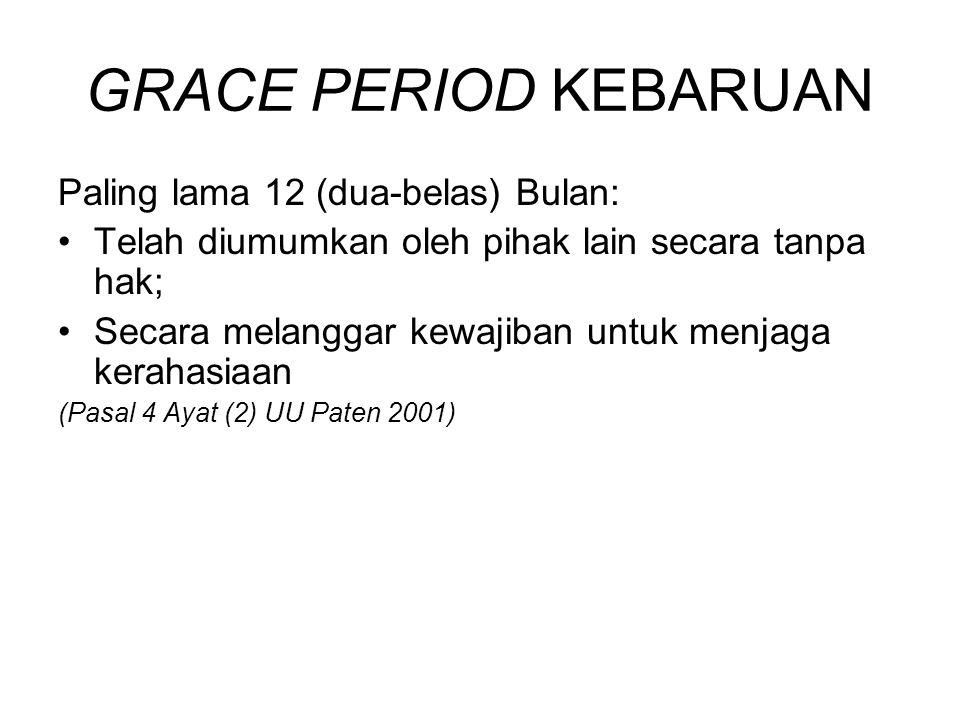 GRACE PERIOD KEBARUAN Paling lama 12 (dua-belas) Bulan: Telah diumumkan oleh pihak lain secara tanpa hak; Secara melanggar kewajiban untuk menjaga ker