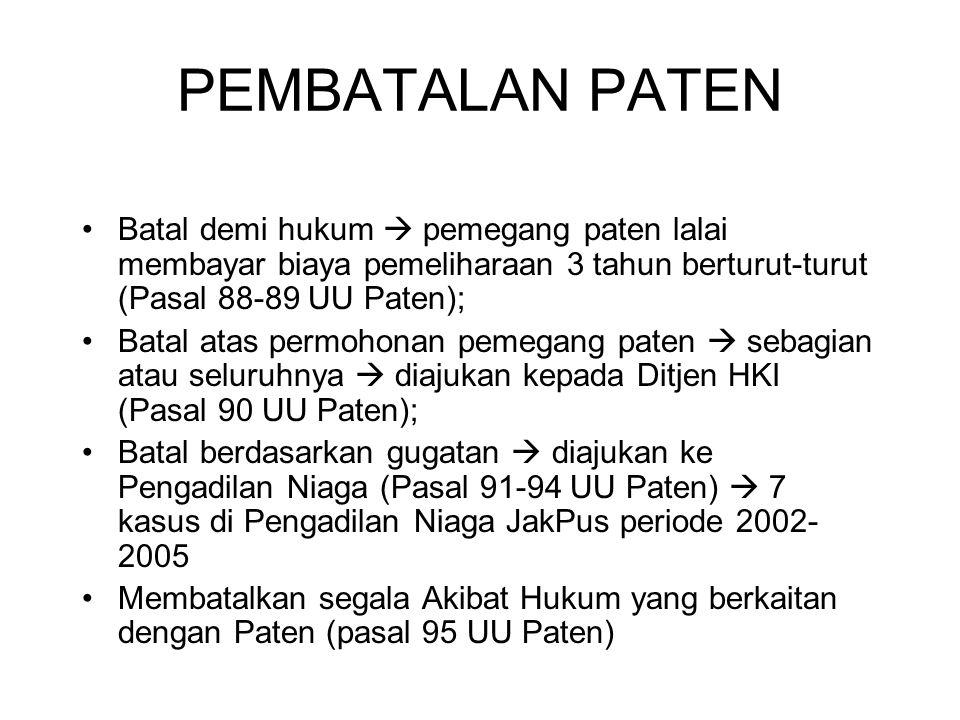 PEMBATALAN PATEN Batal demi hukum  pemegang paten lalai membayar biaya pemeliharaan 3 tahun berturut-turut (Pasal 88-89 UU Paten); Batal atas permoho
